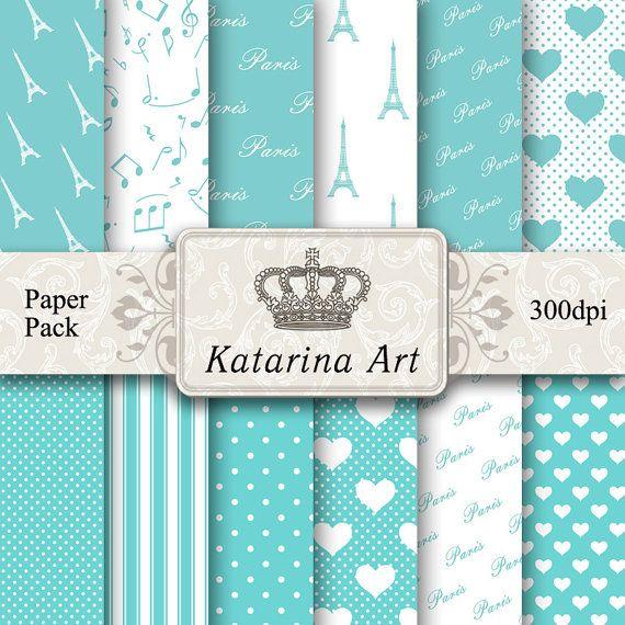 TIFFANY Scrapbooking Digital Paper Pack Paris by KatarinaArt, $4.60