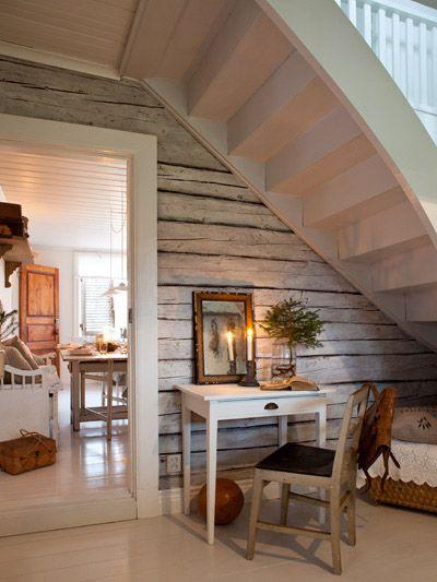 Paint under stairs white and add wallpaper- to lighten it up! pretty space  Anna Truelsen inredningsstylist