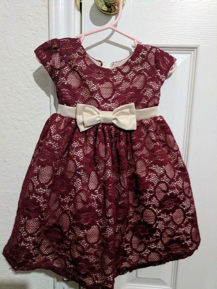Baby girl fancy party wedding maroon tan lace dress 12-18 months Sweet Kids #SweetKids