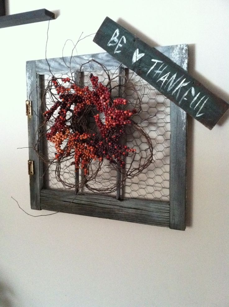 Old Window With Chicken Wire And Berry Wreath Barn Wood