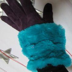 Manchettes hiver bleu nil turquoise, chauffe-poignets fausse-fourrure