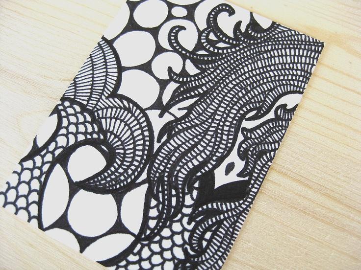 original aceo atc art ink abstract drawing black & white ... Abstract Drawing