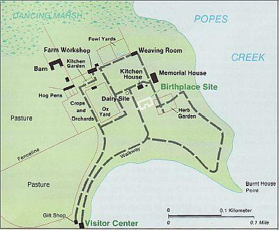 George Washington birthplace map