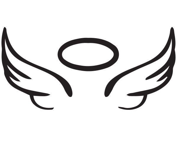 Angel Wing Halo Vinyl Car Decal In Memory Rip Glass 5 X 2 25 Sticker Angel Wings Halo Angel Wings Clip Art Angel Wing Silhouette