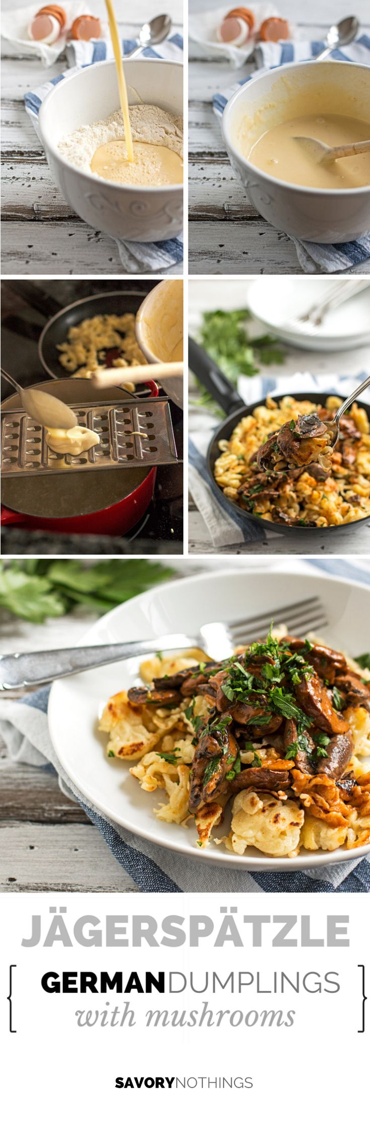 Jägerspätzle {German Dumplings with Mushrooms} | savorynothings.com