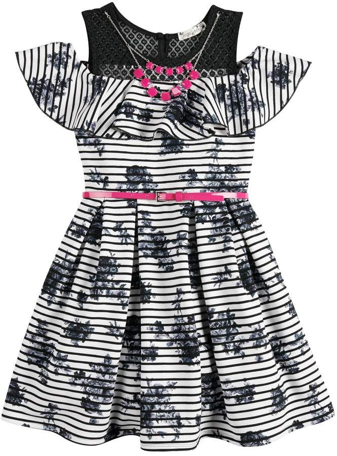 Girls 7 16 Plus Size Knitworks Belted Cold Shoulder Ruffle Skater Dress With Necklace Girl Fashion Kids Fashion Girl Dresses