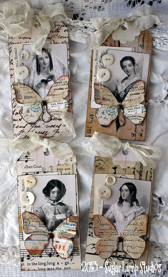 For your consideration... Romantic Flutter Four handmade collage tags that have been distressed with ink and mounted on to heavy card