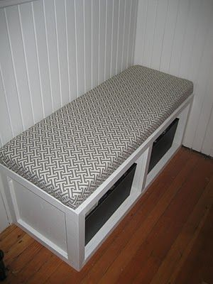 modern jane: The $16 Bench---30 wide, 18 tall, 16 deep.  Would love this for by the door so John can put his shoes and stuff in one box and my stuff in the other