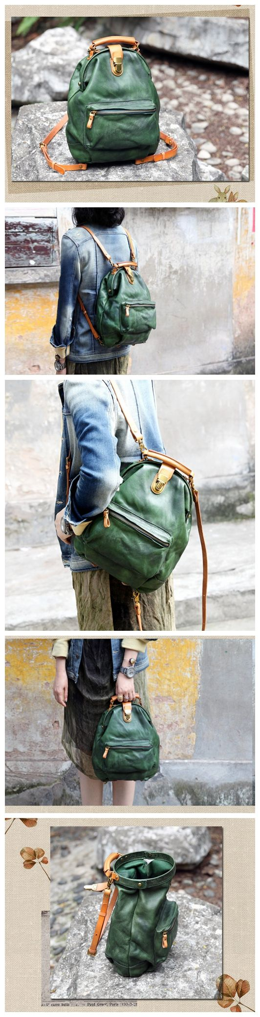 Handmade Genuine Leather Handbag Messenger Shoulder Bag Casual Backpack Rucksack Tote Bag Satchel 14107 Overview: Design: Vintage Leather Messenger Bag Casual Backpack In Stock: 4-5 days For Making Cu