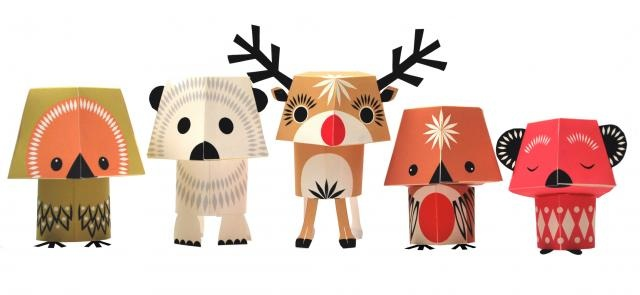 Christmas Creatures  Fine paper shapes to small Do-It-Yourself project. They come flat in a nice package and is ready to send in an A4 envelope as a greeting. You have to cut, glue & assemble them and the results speak for themselves. All animals are up to 18 cm high, when assembled, and there are 5 different animals in a package.