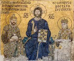Mosaico di Cristo Pantocratore affiancato dall'imperatore Costantino IX e dall'imperatrice Zoe. L'opera si trova nella basilica di Santa Sofia a Costantinopoli ed è datata intorno all'XI secolo d.C.
