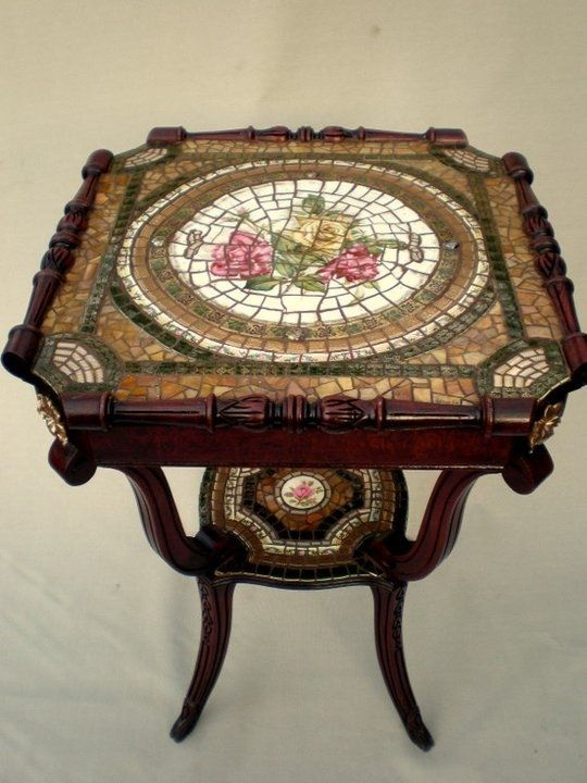 Mosaics On Antique Table By Ellen Of Arc Designs