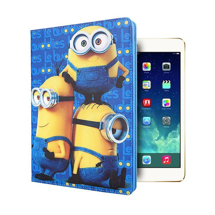 For iPad air 2 case Cartoon Capa Para PU Leather+Ultra Slim Soft TPU Silicon Back Cover Smart Case for funda iPad 6 Air 2 Coque #Affiliate