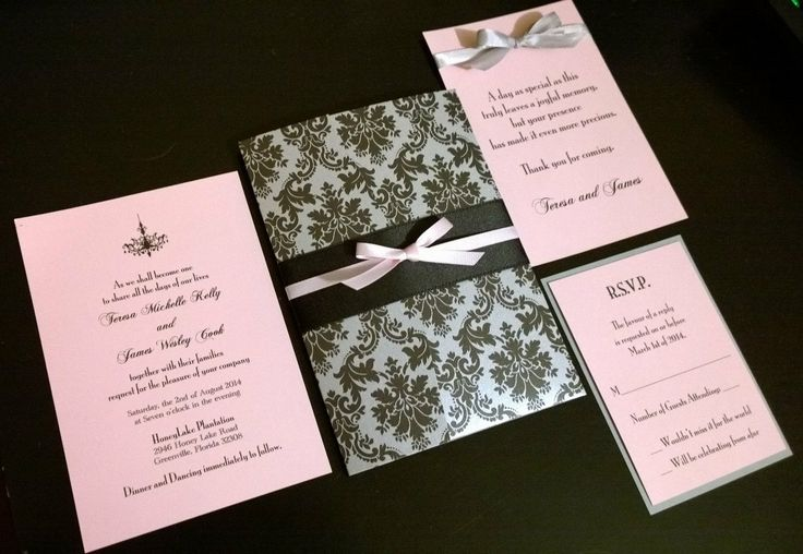 Pink Silver and Black Damask Wedding by SCharmCelebrations on Etsy, $3.45