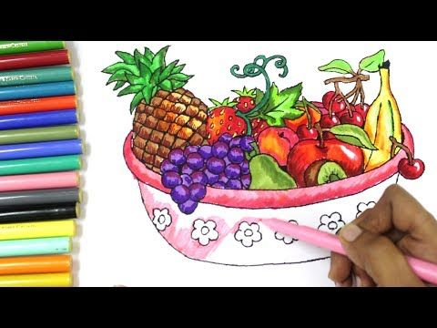 Color Fruits Basket Coloring For Kids Learn Fruits For Kids Youtube Fruits Drawing Basket Drawing Fruit Basket Drawing