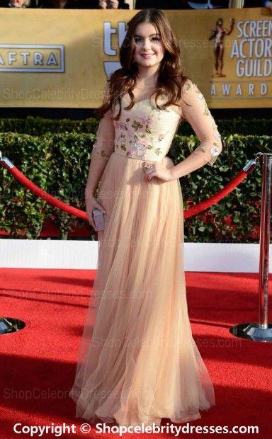 Ariel Winter A-line Floor-length Pink Tulle 2013 SAG Awards Dresses(SCD628)