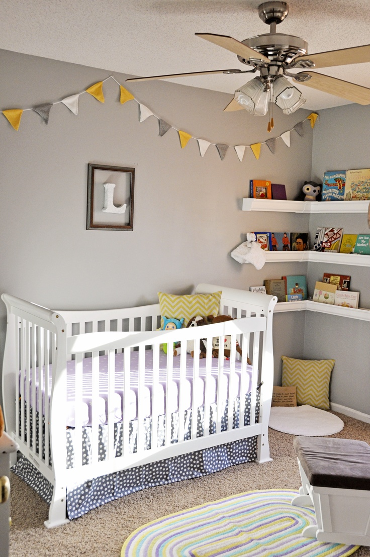 girl nursery  yellow and gray - note position of the matching bunting along the ceiling.