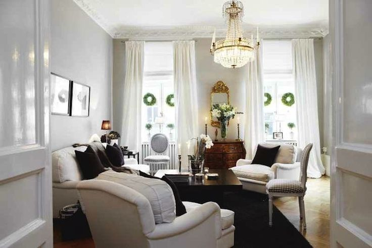 Suzie: Skonahem - Gorgeous Swedish living room design with gray walls paint color, white sofas ...