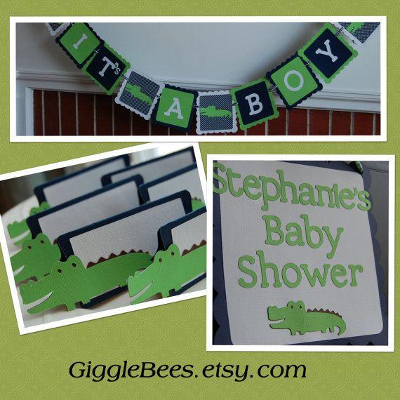 Alligator Party Package, Its A Boy Banner, Door Sign, Food Labels, Alligator Baby Shower, Alligator Party