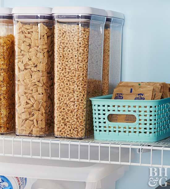 Store-bought helpers make organizing and retrieving pantry items a breeze.