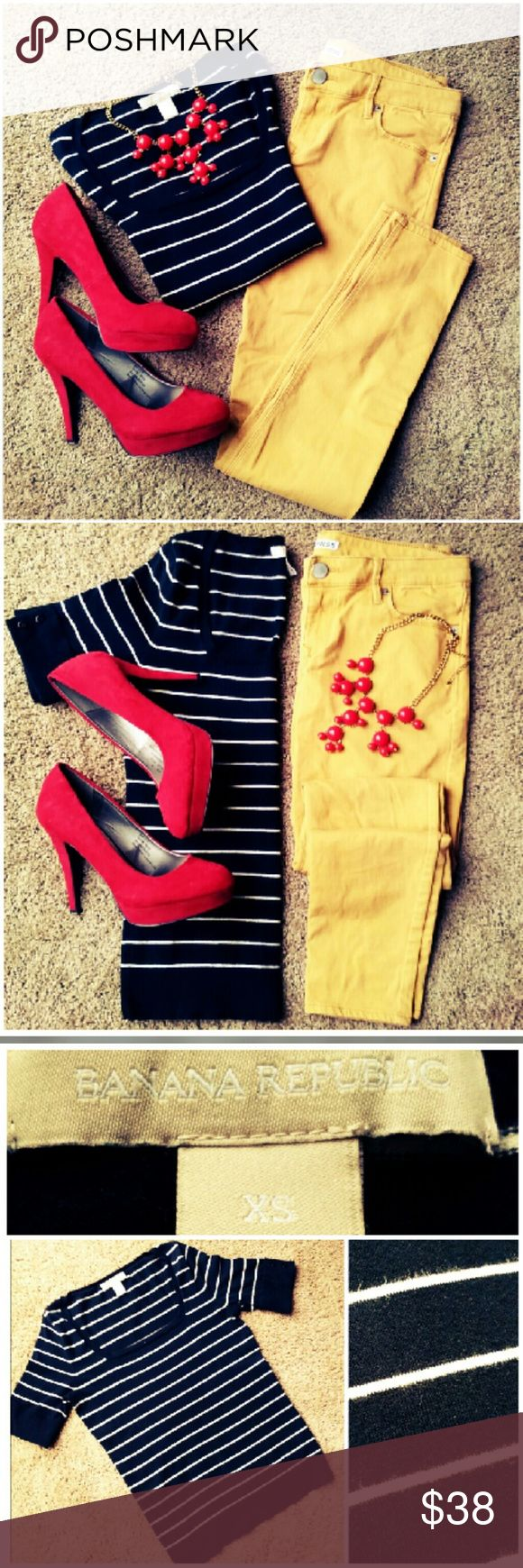 Outfit Bundle ~ Banana Republic & Express Outfit bundle! Get the look for one low price! Included in this listing are:  ~Black and white stripe short sleeve sweater by Banana Republic. Square scoop neck. Cute button detail at sleeves. Size XS.   ~Very soft goldenrod skinny pants by Express. Size 4. Very faint horizontal lines toward bottom of legs in back due to wearing with booties. Very light crease lines. See close up pics. Not noticable unless inspected closely.   Please note: Necklace…