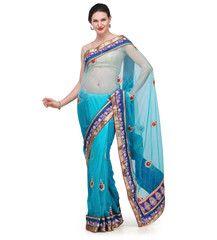 Turquoise Shaded Net Saree | Fabroop USA | $48.00 |