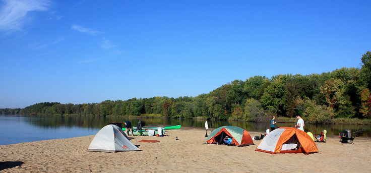 The final 92 miles of the Wisconsin River offer a remote wilderness experience with sandbars that are open for free camping on a first-come, first-served basis.