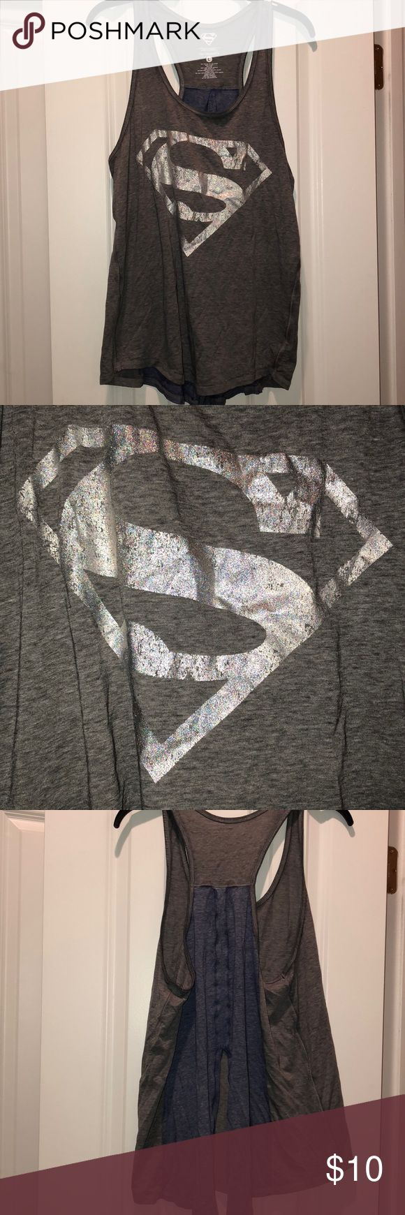 Superman tank size large Never worn  Sparkly Superman logo 😍 Smoke and pet free home kohls Tops Tank Tops