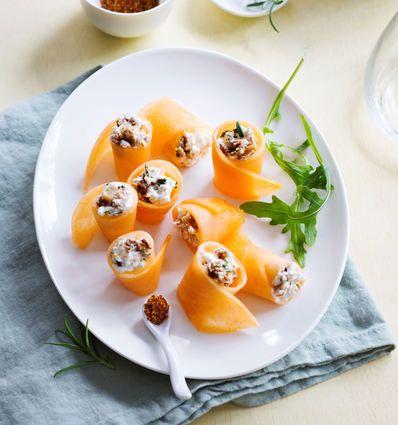 Melon façon makis au fromage frais et aux figues