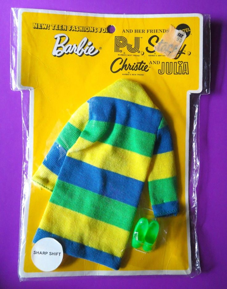 1970 Barbie, P.J., Stacey, Christie & Julia - Yellow, Green & Blue Sharp Shift (New Teen Fashions For) #