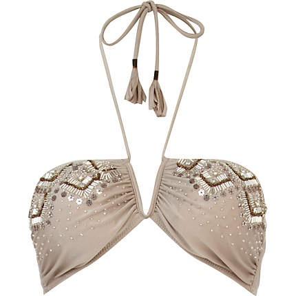 Grey Pacha embellished bandeau bikini top {River Island, £26.00}