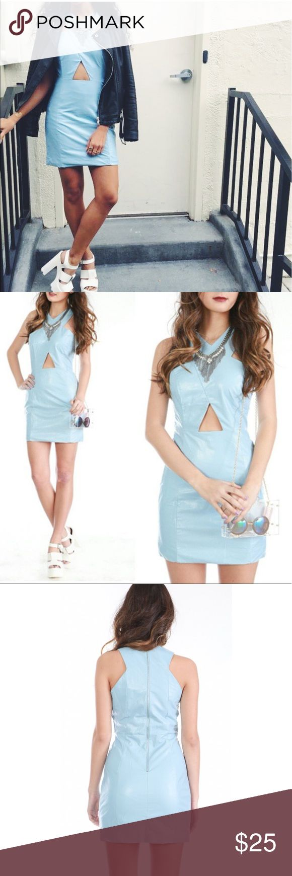 💙HP💙Vegan Leather Sky Blue Mini Dress💙 S, L ✨Re:named sky blue vegan leather mini dress✨ new! 🔹body con fitted  🔹silver metal zipper on back 🔹fully lined 🔹cut out detailing -size runs true to size ✔️Bundle to save 20% ✔️Accepts reasonable offers 💕 Urban Outfitters Dresses Mini