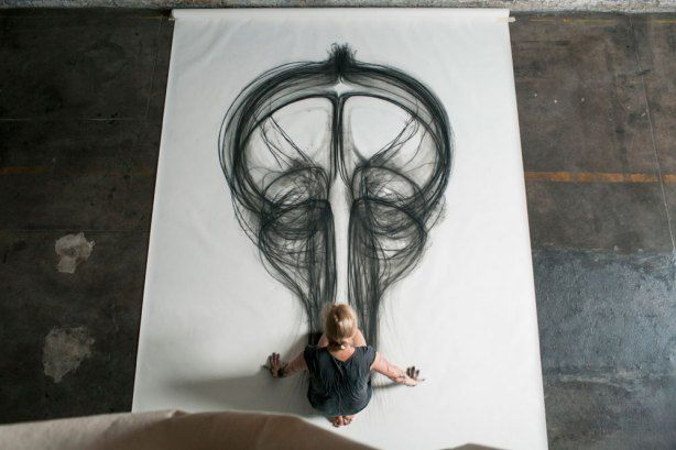 Artist Uses Entire Body to Create Larger than Life Charcoal Drawings | Like and Mention
