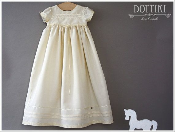 Christening Dress Christening Silk Gown Baptism Dress by DOTTIKI