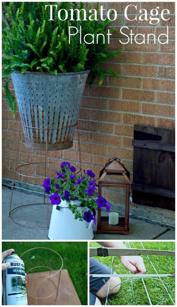 Turn a garden tomato cage into a plant stand. So easy! | http://chatfieldcourt.com