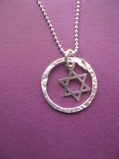 Star of David Judaica Eternity Circle Pendant Necklace