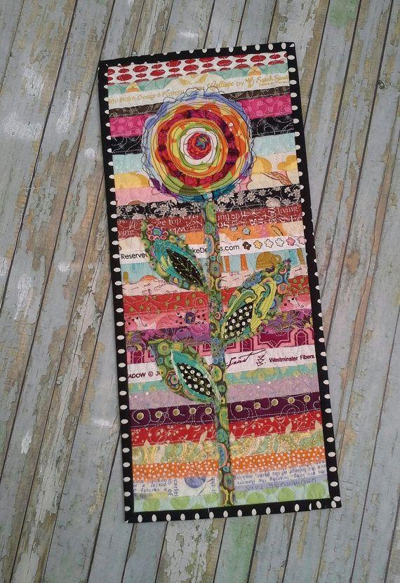 Fiber art, Flower wall hanging,Art Quilt, OOAK art, original design, mini quilt, signed by artist