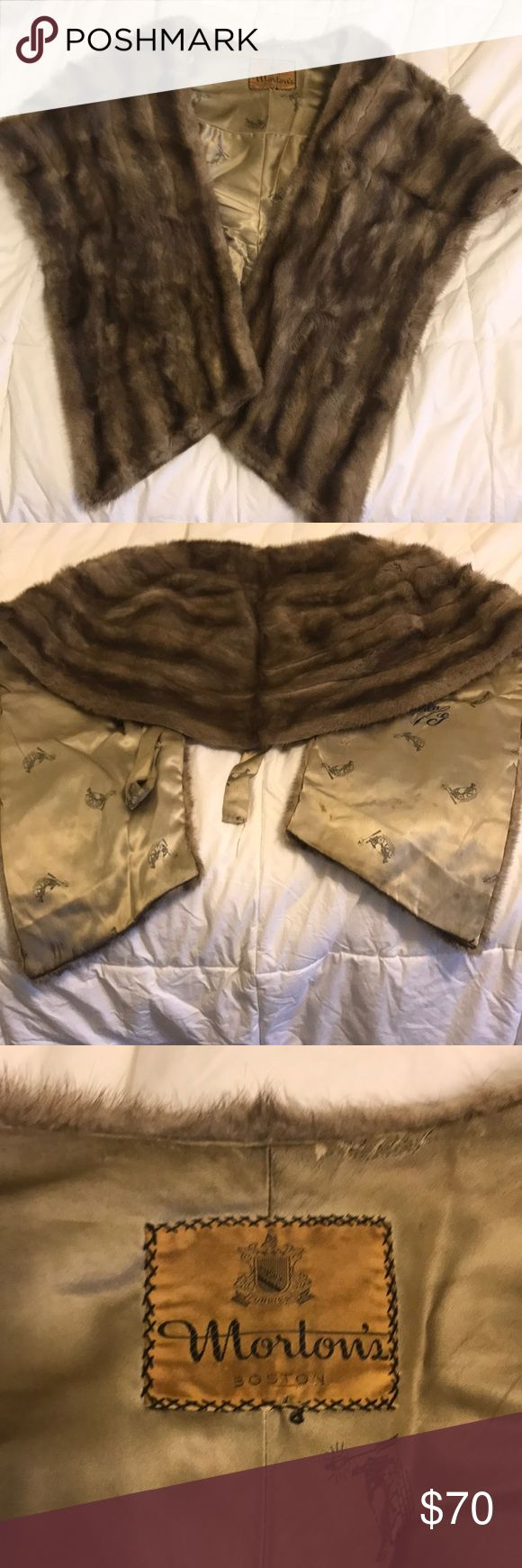 "Vintage mink stole Vintage mink stole No clue how old it is, but I'm thinking it's pretty old Is monogrammed on the interior for ""Hilda G""- no idea who this is lol Fur looks great- no noticeable defects- might perk up a bit if treated by a fur specialist  Lining has some stains and splotches-see pics One of the straps is unattached-see pics  At this price it's a steal!! Normally would be going for $1000+ Jackets & Coats Capes"