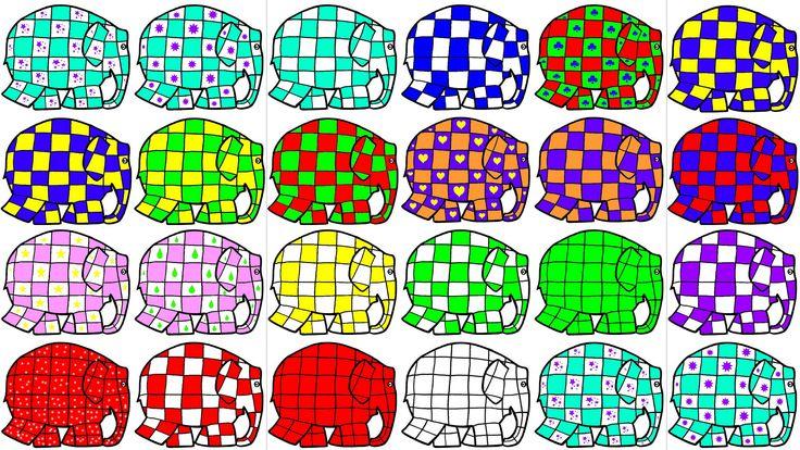 Elmers: voor matrix, aantallenbord, volgorde naleggen, memory's en legpuzzels...