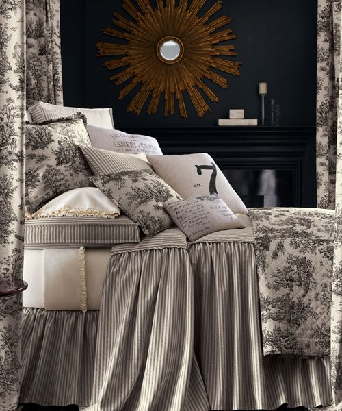Queen Toile Bedding Legacy Queen Toile Bedding: The Sydney Bedding Collection is made of coal and ivory ticking-stripe cotton. Toile Linens are made of linen, quilted coverlet with mitered hem reverses to cotton.