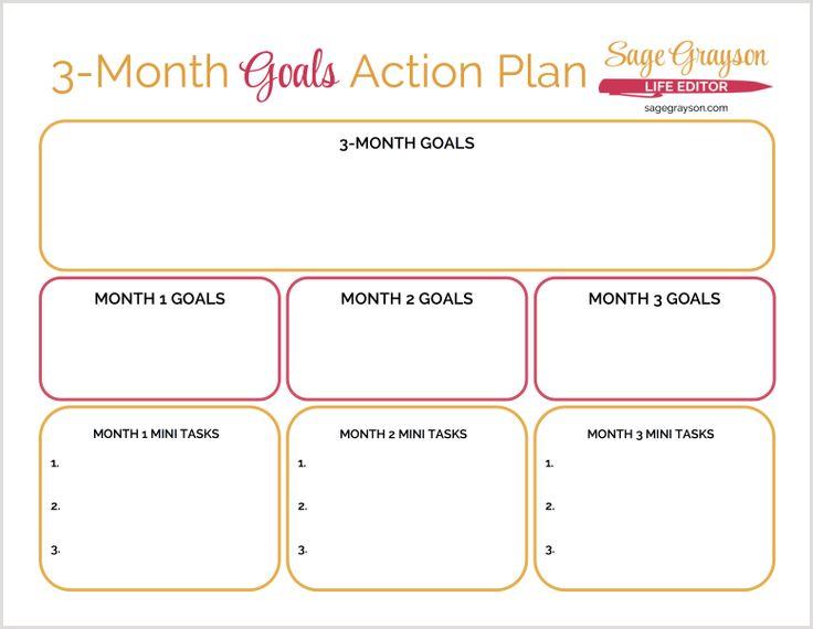 3 Month Goals Action Plan Free Printable Worksheet To