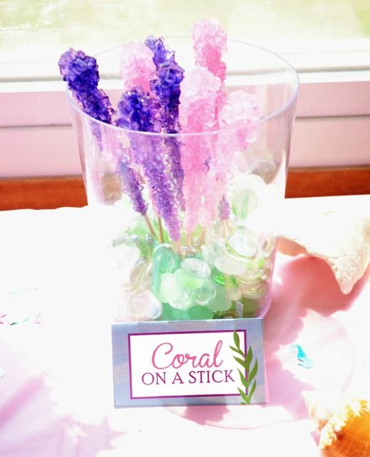 Candy coral on a stick at a Mermaid Birthday Party! See more party ideas at CatchMyParty.com!