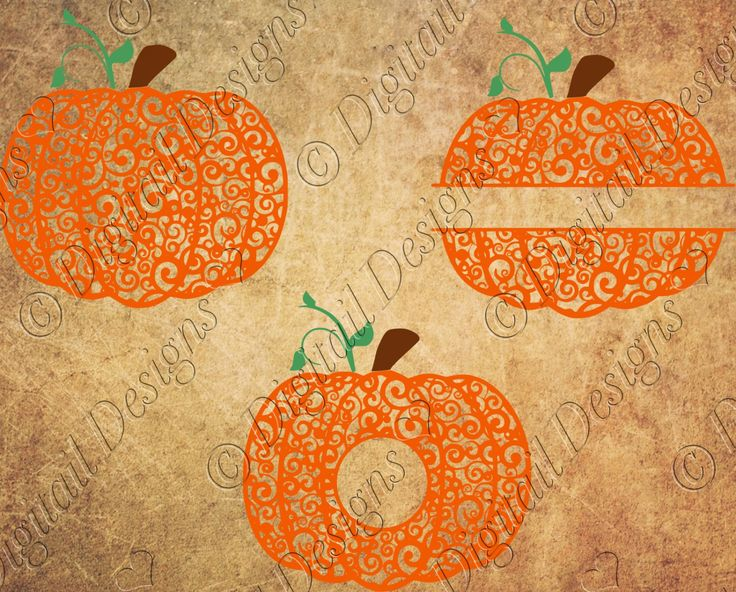 Swirl Pumpkin SVG Swirl Pumpkin Monogram Split Pumpkin