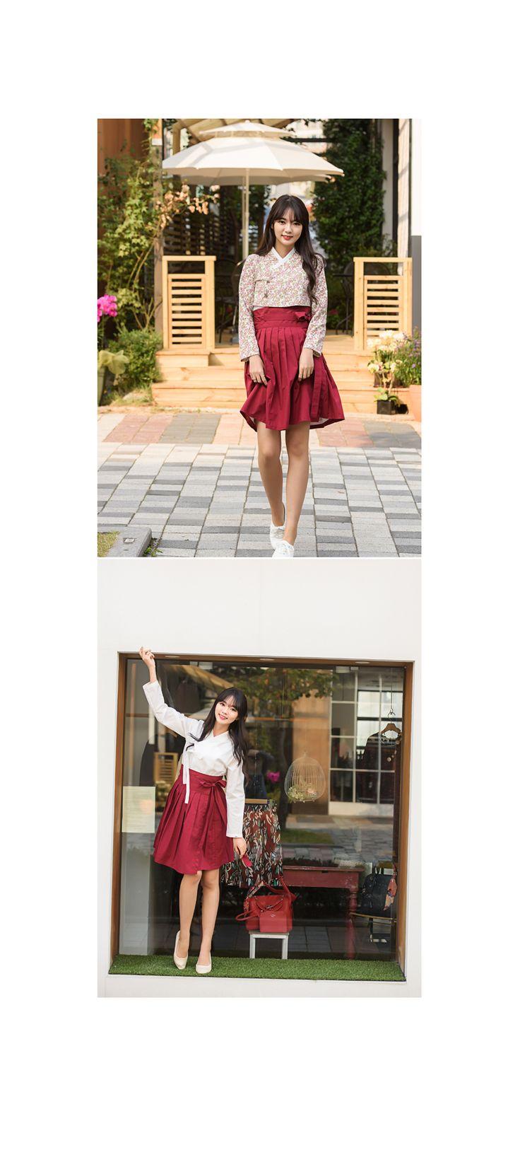 [하의]생활한복 미니 허리치마 #버건디