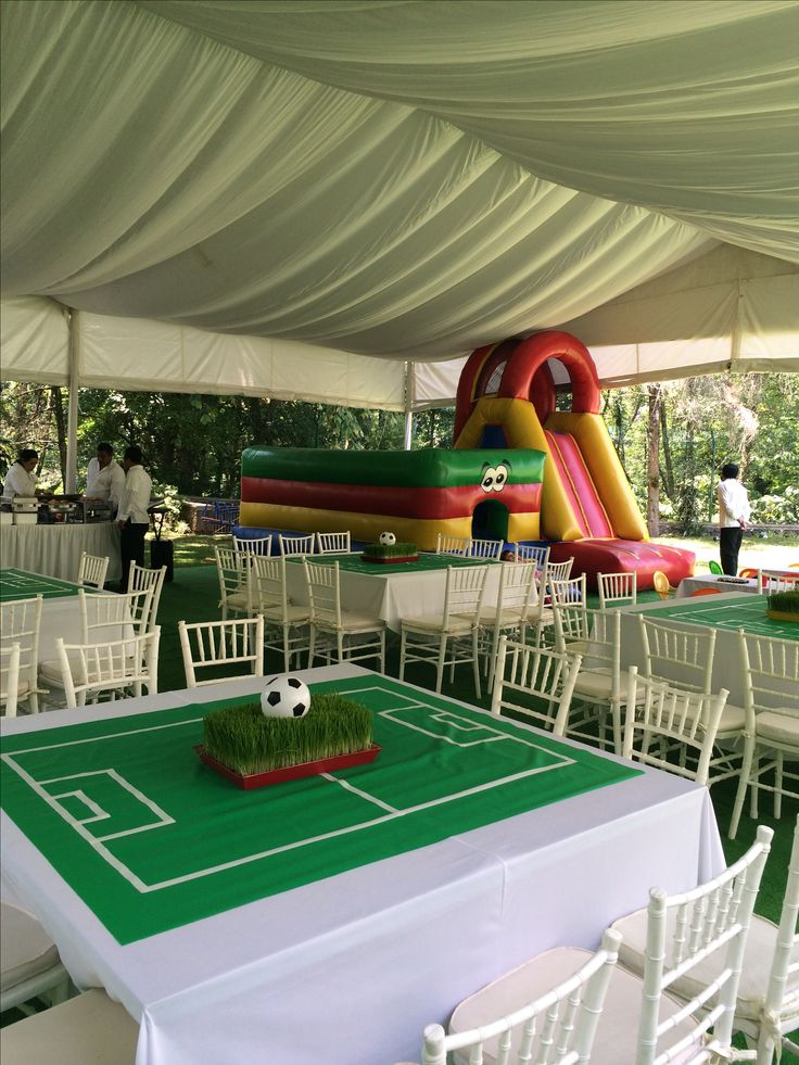 Soccer party tables white & green cloths with white electrical tape