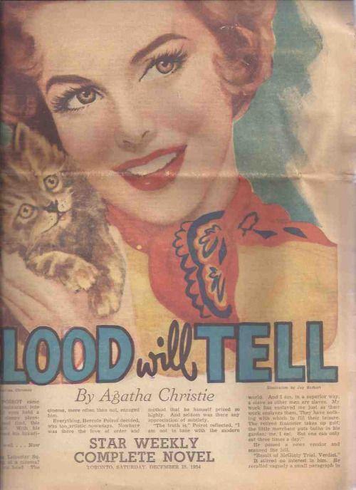 アガサ・クリスティによって「教えてくれますブラッド ':トロントスター週刊小説、1954年12月25日(後でとしてリリース「マギンティ夫人は死にました」)  'Blood Will Tell' by Agatha Christie: Toronto Star Weekly Novel, December 25, 1954 (later released as 'Mrs McGinty's Dead')via