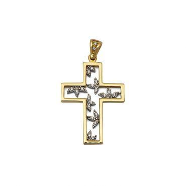 Μοντέρνος βαπτιστικός σταυρός για κορίτσι χρυσός Κ14 με λευκόχρυσα φύλλα με μονόπετρα ζιργκόν | Βαπτιστικοί σταυροί ΤΣΑΛΔΑΡΗΣ στο Χαλάνδρι #μονοπετρα #γυναικειος #βαφτιση #χρυσο #σταυρος