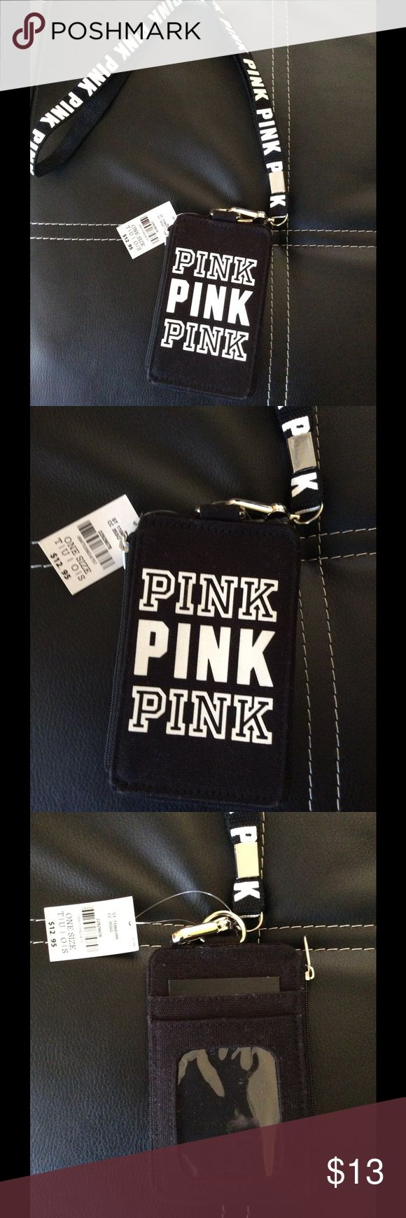 Victoria's Secret PINK Lanyard with ID Holder Victoria's Secret PINK Black Lanyard with ID Holder Victoria's Secret Accessories Key & Card Holders