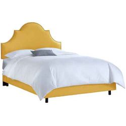 Get The Best Price For Linen French Yellow Nail Button High Arch Notched Twin Bed For Sale Online