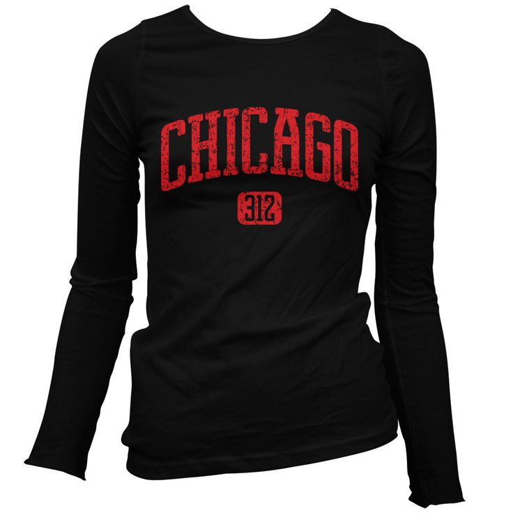 Women's Chicago 312 Long Sleeve Tee - LS Ladies T-shirt - S M L XL 2x - Chicago Shirt Windy City - 4 Colors